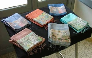 Scarves with pictures applied by students in Orvieto