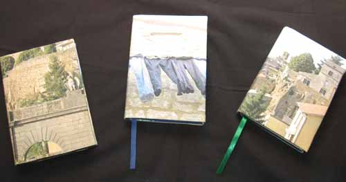 Books covered with photos on fabric