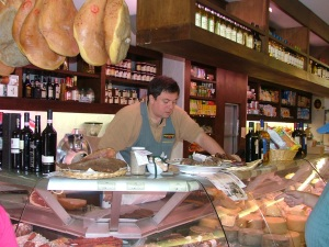Carlo selecting meat for us