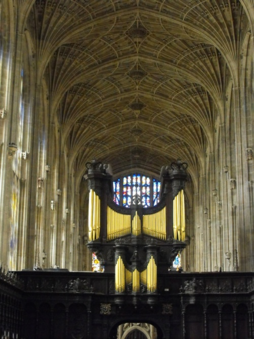 The organ sits in the middle of the length of the church